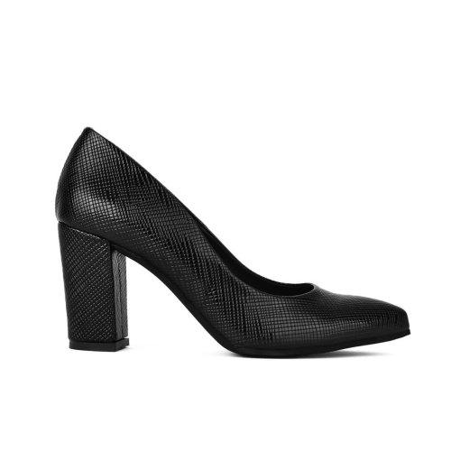 Μαύρη μυτερή γόβα σε φίδι υλικό. Μοναδικές προσφορές σε γυναικείες γόβες και παπούτσια! Παπούτσια My Way Shoes, Τσιμισκή 32 στη Θεσσαλονίκη!