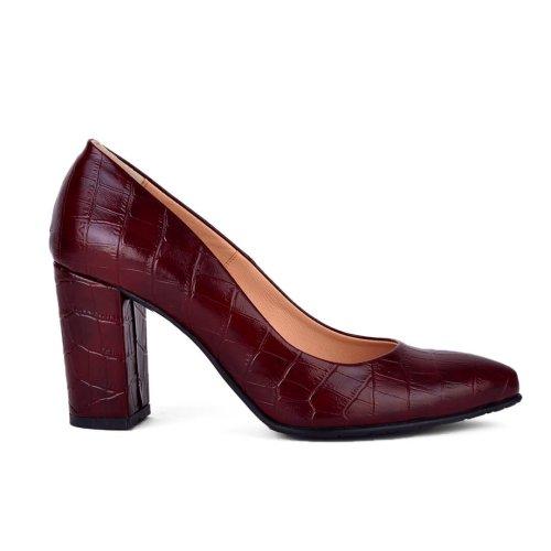 Μπορντώ μυτερή γόβα σε κροκό υλικό. Μεγάλες προσφορές σε γυναικεία παπούτσια! Παπούτσια MyWayShoes, Τσιμισκή 32 στη Θεσσαλονίκη!