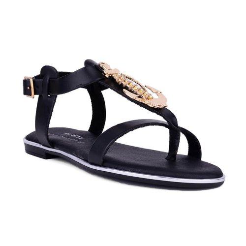 Γυναικείο Flat πέδιλο με διακοσμητικό σε μαύρο και ταμπά χρώμα! MyWayShoes, Τσιμισκή 32 στη Θεσσαλονίκη!